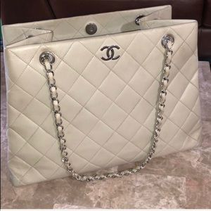 Authentic Chanel off-white quilted bag